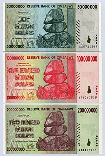 Zimbabwe 50 100 200 Million Dollars 2008 P79-P81 UNC currency bills