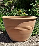 Kreta-Keramik terracotta Pflanzgefäß, 60 cm handgefertig und frostfest, direkt bepflanzen Balkon Terasse Garten, Veronica 60 cm