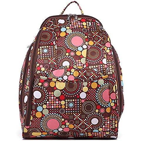 Babyhugs® 4 piezas de viaje Ultra ligera que cambia de pañales de bolsa de pañales de la mochila de - de una mochila o bolso bolsa de palos de diseño de lunares diseño de puntos de color marrón