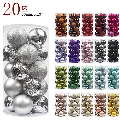 Busybee unbekannt palline di natale 20 pezzi 8 cm argento palline natalizie ornamento di palla di natale per la decorazione dell'albero di natale