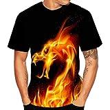 3D T-Shirts Chemise à Manches Courtes Homme Impression Shirt à Col Rond Manches Courtes Étoiles Animaux Shirts Occasionnels D