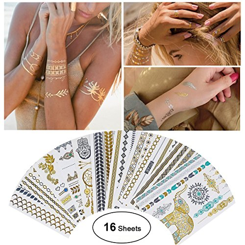 Tattoo Waterproof Metallic Temporary Tattoo 16sheets in Gold Silver Sticker Body Fake Jewelry Tattoos Over 200 designs for Women Teens Girls Body Art