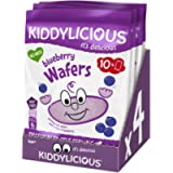 Kiddylicious Blueberry Wafers   Gluten and Dairy Free Kids Snack   Suitable for 6 Months+   4 x 10 Twin Packs