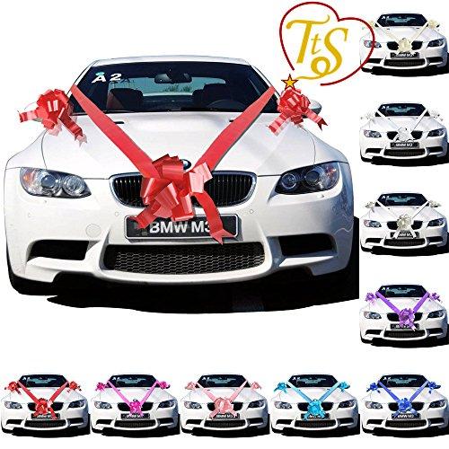 Time to Sparkle Hochzeitsauto-Dekorations-Set,7m langes Schleifenband und 1, 3oder 5große Schleifen, rot, 3 Bows 7 metres Ribbon