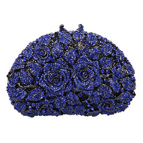 Bonjanvye Glitter Studded Rhinestone Rose Clutch Purse for Wedding Party Gold blue