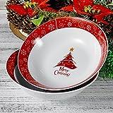Ensaladera de porcelana, cuenco de 2 piezas, gran tazón de sopa, cuenco de ensalada 23cm de diámetro, vajilla para Navidad regalo para Navidad