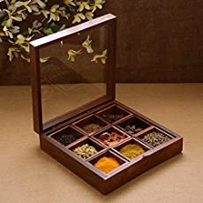 Spaonta Spice Box - Sheesham Wood Spice Box Container - Spice Box With Transparent Top