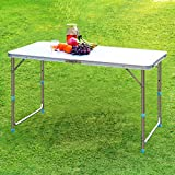 Finether Folding Table with Parasol Hole, Portable Multi-Purpose Indoor Outdoor Activity Recreation Dining Picnic Party Camping Table
