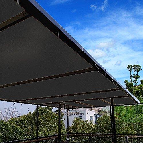 Ecover 90% Schattierungstuch schwarz Sunblock-Stoff, Schnittkanten mit freien Zelten, UV-beständig für Terrasse/Pergola/Baldachin, 20,3 x 15,2 m -
