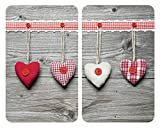 Wenko 2521481100 Herdabdeckplatte Universal Herzen für alle Herdarten, Gehärtetes Glas, 2-er Set, mehrfarbig, 52 x 30 x 5,5 cm