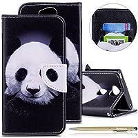 Herbests Handytasche Sony Xperia XA2 Lederhülle Bookstyle Leder Klapphülle Flip Case Brieftasche Hülle Leder Handyhülle Tasche Magnetverschluss Ledertasche Kartenfächer,Lustig Schwarz Panda