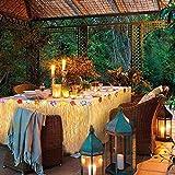 Hawaii Tischröcke, Tatuer Vintage Hawaii Deko Party Tischdecke Hawaii Luau Tischdeko Partyartikel mit Blumen für DIY Party Dekoration Geburtstage Hausgemachtes Kostüm Rock Festival(Gold) - 4
