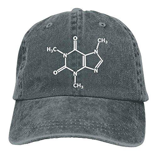 U-Only Caffeine Molecule Gamer Nerd Geek Science Adjustable Running Cotton Washed Denim Cap Navy