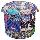 Stylo Culture Otomano Pouffe Reposapiés Cubierta de Tela Vintage Azul Marino Bordado étnico Patchwork Algodón Tradicional Redondo Pouf Otomana Cubierta (18x18x13 Pulgadas) 45 cm