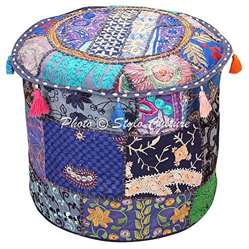 Stylo Culture Otomano Pouffe Reposapiés Cubierta de Tela Vintage Azul