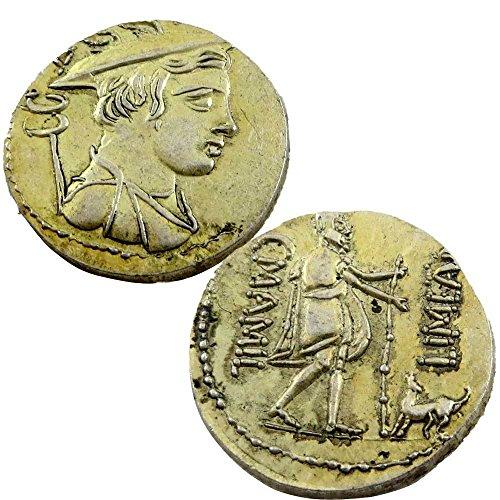 Riproduzione replica moneta repubblica romana denario raffigurazione ulisse argo