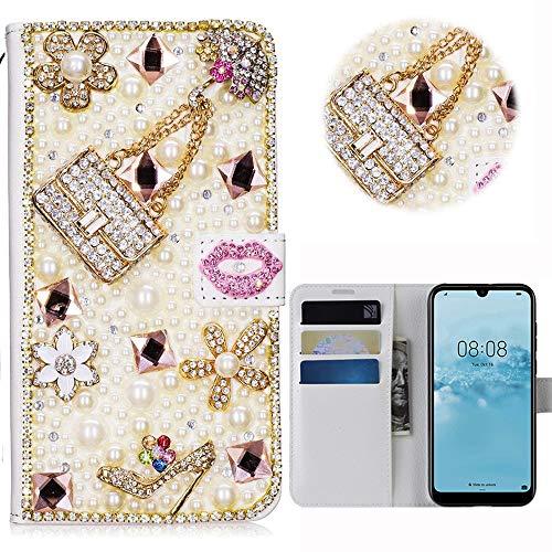 Print Strass-handtasche Geldbeutel (Huawei Y5 2019 Glitter Hülle Case,3D Handtasche Absatz Lippe Strass Diamant Weiße Ledertasche PU Lederhülle Flip Hülle Ständer Wallet Tasche Schutzhülle Glitzer Handy Case für Huawei Y5 2019)