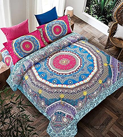 Bohemian Moroccan Complete Duvet Cover Set inc Duvet Cover, Fitted Sheet with Two Pillow Cases Quilt Sets Duvet Sets (Double ( 200 x 200 CM) Storm)