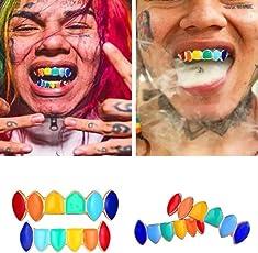 huichang Grillz, Regenbogenfarbe Grillz für den Mund Top Bottom Hip Hop Zähne Grills