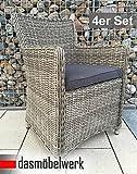 dasmöbelwerk 4er Set Polyrattan Stuhl mit Sitzpolstern Rattan Stuhl Relax Sessel Gartenmöbel Gartenstuhl LILIE Grau