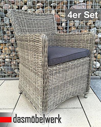 dasmöbelwerk 4er Set Polyrattan Stuhl mit Sitzpolstern Rattan Stuhl Relax Sessel Gartenmöbel...