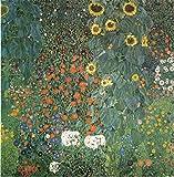 farmergarden mit Sonnenblume von Gustav Klimt. 100% handbemalt. Öl auf Leinwand. Hohe Qualität Wiedergabe, Versandkostenfrei (ungerahmt und ungedehnt)., Same to the original, 52x52 IN.