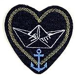 Bügelbild Herz 9 x 8,5 cm maritime Flicken zum aufbügeln Glaube Liebe Hoffnung Jeans Aufbügler Anker maritim für Erwachsene