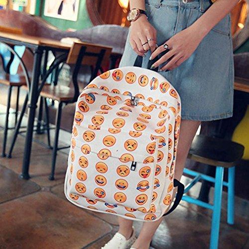 Imagen de malloom chica mujer sonriente emoji impresión  bolso lindo viaje  bolsa para la escuela blanco  alternativa