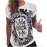 Women's Summer Short Sleeve Graphic Print Soft Comfortable T Shirt Tops