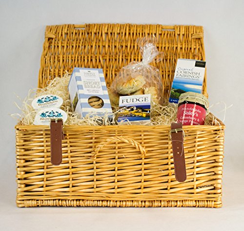 Cornish Cream Tea Hamper With Gooseberry & Orange Preserve In A Wicker Hamper