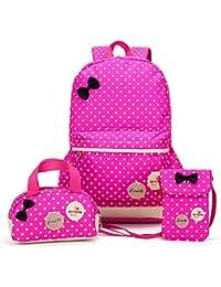 Bcony Conjunto de 3 Dot lindo Las mochilas escolares /bolsas escolares/ Mochilas infantiles niños niñas adolescentes + mini bolso + bolso crossbody
