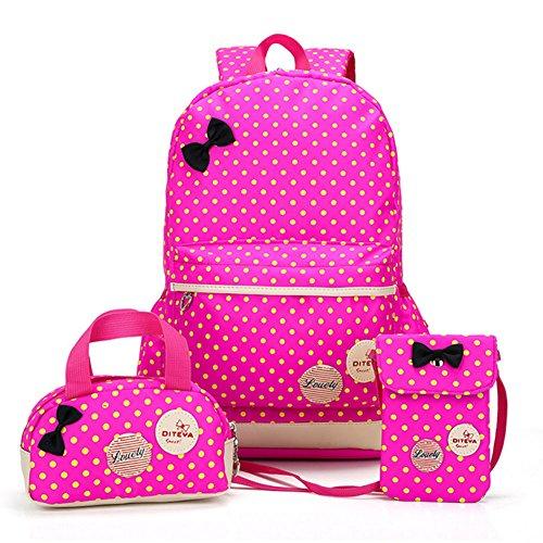 Bcony 3 pezzi carina punto cartelle e zaini per la scuola/zainetti per bambini + ragazza borsetta + mini crossbody borse,rosso rose +giallo