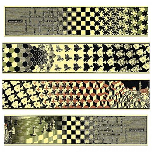ESCHER - Metamorphosis II, 1940 (4 MDF Panels) (Paneele 100x22 cm)