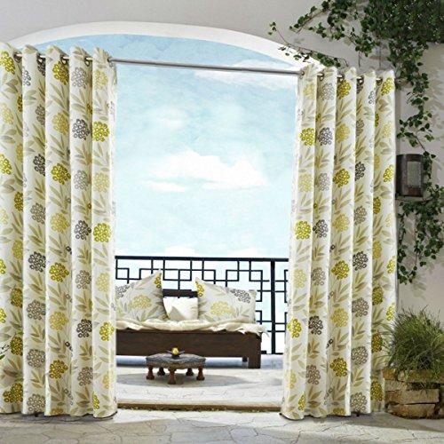 Moderno floreale tende verde lime grigio crema occhiello patio Living
