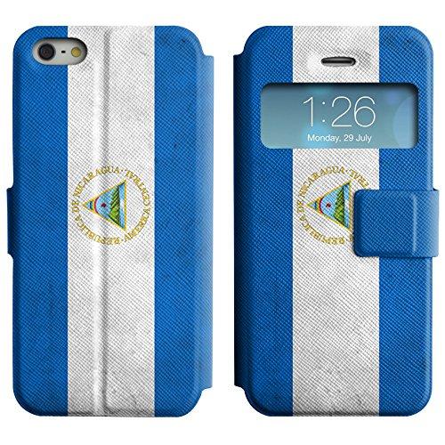 Graphic4You Vintage Uralt Flagge Von Mexiko Mexikanisch Design Leder Schützende Display-Klappe Brieftasche Hülle Case Tasche Schutzhülle für Apple iPhone 5 und 5S Nicaraguaner