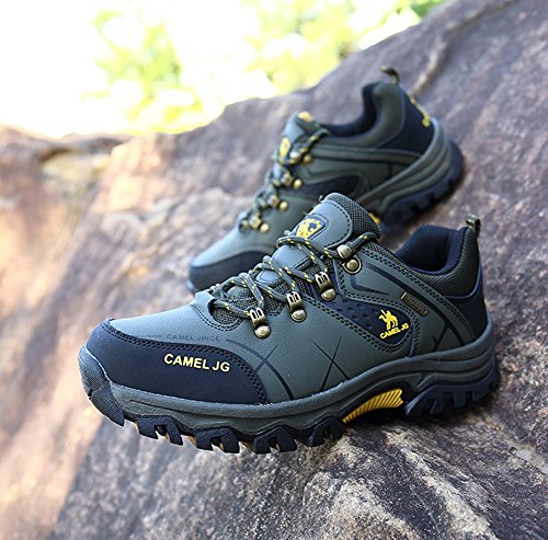 Gomnear Scarpe da Trekking Uomo Arrampicata Grande Taglia Hiking Boots Verde-