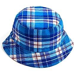 VANKER 1X Estilo unisex de los niños del sombrero del cubo algodón ocasional de la tela escocesa del verano del casquillo del sombrero de Sun Beach (Azul)