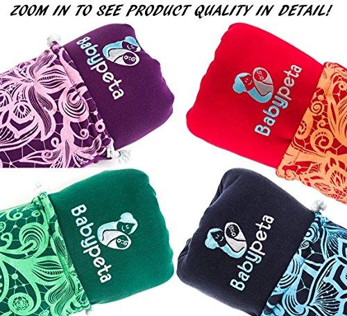 Halten sie ihr Kleinkind ruhig & bleiben sie dabei freihändig - stylisches multifunktionales Babytragetuch - Baumwoll Tragetuch für Neugeborene und Kleinkinder - Tragetasche inklusive - LILA - 8