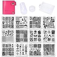Biutee Set de Stamping Nail Art 12 Pcs Plantilla de Estampado de Uñas +1pcs Estampador+1pcs Raspador +1 Pcs Bolso Para Placa
