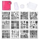 Biutee Set de Stamping Nail Art 12 Pcs Plantillas para Uñas +1pcs Estampador+1pcs Raspador +1 Pcs...