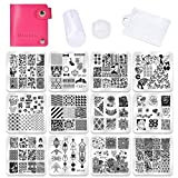 Biutee Set de Stamping Nail Art 12 Pcs Plantillas para Uñas +1pcs Estampador+1pcs Raspador +1 Pcs Bolso Para Placa
