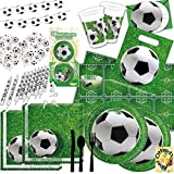 Fußball Football Partyset 192tlg. für 12 Kinder Teller Becher Servietten Tischdecke Ballons Besteck Girlande Muffin Kerzen Karten Tüten