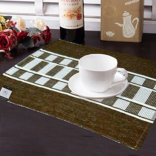Avioni Premium Cotton Ribbed Table Mats Horizon Collection Export Quality Brown stripes...