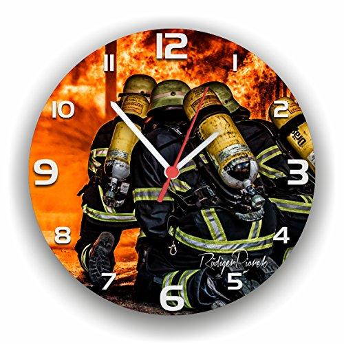feuerwehr wanduhr Roter Hahn 112 Hochwertige Feuerwehr Wanduhr Uhr 112 PROZENT/Rüdiger Piorek Edition/25cm/Geräucharm
