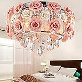 Lilamins Kristall Kronleuchter Wohnzimmer Schlafzimmer Decke led Rosenblüten Kristallleuchter, 450mm, 40 W Deckenleuchte rosa