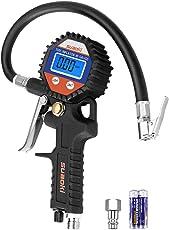 Suaoki 150 PSI digital Luftdruckprüfer Reifenfüller Tragbare Präzision Reifendruck Messgerät mit Hinterleuchtet LCD-Bildschirm für Auto Motorrad (Schwarz)