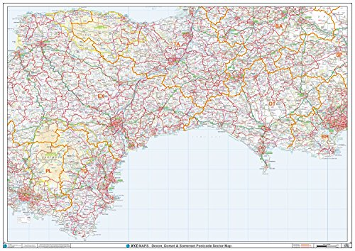 XYZ Postleitzahl Sector Karte-(S2)-Devon, Dorset & Somerset-Papier (Postleitzahl Sector Karten)
