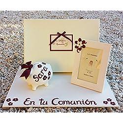 Regalo comunión precioso con Libro de Comunión hecho a mano y personalizado con el nombre de la niña, la Iglesia, la fecha y una dedicatoria, un cerdito hucha y un marco decorado a mano a juego 1