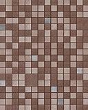 Küchen Bad Tapete EDEM 1033-17 Vinyltapete geprägt mit geometrischen Formen und metallischen Akzenten braun beige silber 5,33 m2