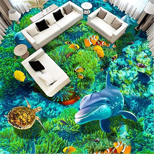 Zybnb Benutzerdefinierte Fototapete Unterwasserwelt Schlafzimmer Badezimmer 3D BodenaufkleberOder Boden Wasserdichte Kunststoff Tapeten-120X100Cm